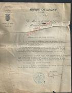 AUTOGRAPHE DU MAIRE DE L EPOQUE MAIRIE DE LAGNY 77 LETTRE DE 1941 SUJET JOURNEE DE MERES VEND EN ETAT : - Autographes