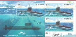 India - 2017 -  50 Years Of Submarine Arm Of Indian Navy - MNH - Sheetlet And FDC. ( INS Kalvari, Submarine  ) - Militaria