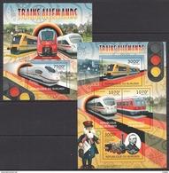 G261 2012 BURUNDI TRANSPORTATION TRAINS ALLEMANDS 1KB+1BL MNH - Trains