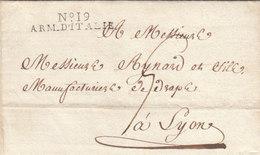 France Italia LSC No 19 ARM. D'ITALIA Parfait Armée Rimini To Lyon 1806 (q48) - Legerstempels (voor 1900)