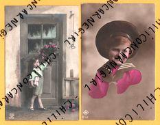 2 Cpa - Fantaisie - Garçon - Enfants - Livres - Sonnette - Fleurs - Portrait - Enfants