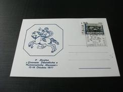CARTOLINA POSTALE ANNULLO 3° MOSTRA GIORNATE FILATELICHE E NUMISMATICHE MASSESI 1977 MASSA TOSCANA - Manifestazioni