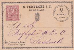 1877 MILANO G. Tedeschi & C. Negozianti Intestazione A Stampa Su Cartolina Milano (6.12) Affr Cifra C.2 - 1878-00 Humbert I.