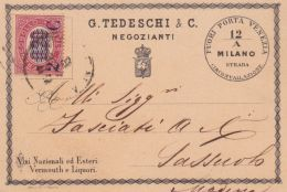 1880 MILANO G. Tedeschi & C. Negozianti Intestazione A Stampa Su Cartolina Affr Fr.lli Servizio Sopr C.2/0,20 - 1878-00 Humbert I.