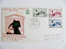 Cover From Morocco Maroc 1958 Special Cancel Fdc Unesco - Morocco (1956-...)