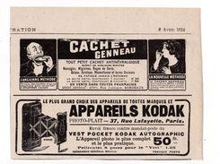 """Pub.1916 Cachet Genneau Antinévralgique """" Ancienne Et Nouvelle Méthode """"  Kodak Appareils Photo-Plait  TBE - Publicités"""