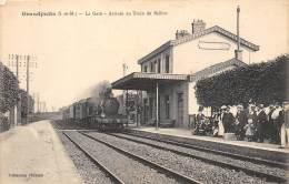 77 - SEINE ET MARNE / 773535 - Grandpuits - La Gare - Arrivée Du Train - Beau Cliché Animé - Autres Communes