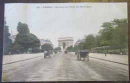 Paris N°24 - Avenue Du Bois De Boulogne - Carte Couleur Animée - Timbre YT N°129 - Cachet 1906 - France