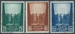 1942 VATICANO USATO OPERE DI CARITA 3 VALORI - X15-6 - Oblitérés