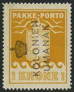 GRÖNLAND - PAKKE-PORTO 14 O, 1937, 1 Kr. Gelb, (Facit P 18), Kronenstempel KOLONIEN UMANAK, Pracht - Paketmarken