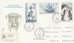 1980 T.A.A.F. Registered FDC With Mi 136, 138 & 143, From Martin De Vivies To Marseille France,  Antartica Issue..... - Antarktis-Expeditionen
