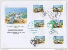 FDC La Tortue Verte Green Turtle Schildkröte 2014 Joint Issue Faune Fauna Madagascar Seychelles France Comores - Autres