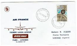 274 Oblitération Aéroport D'orly Entrepôt Postal 1968 Air France Londres - Postmark Collection (Covers)