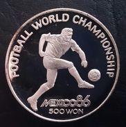 "NORTH KOREA 500 WON 1989 SILVER PROOF  ""World Championship Soccer - Mexico '96""  Free Shipping Via Registered Air Mail - Korea, North"