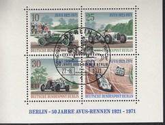 BERLIN Block 3, Gestempelt, 50 Jahre AVUS-Rennen 1971 - Blocks & Sheetlets