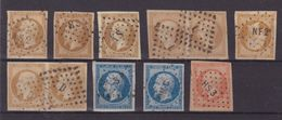 FRANCE : TYPE EMPIRE . N° 13,14,16 . 9 EX . OBL . PARIS ET AMBULANTS . 1854/62 . - Marcophily (detached Stamps)