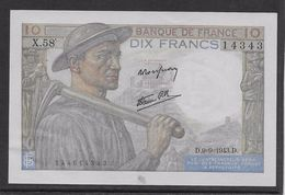 France 10 Francs Mineur 9-9-1943 - Fayette N°8-9 - SPL - 1871-1952 Circulated During XXth