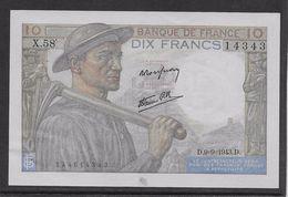 France 10 Francs Mineur 9-9-1943 - Fayette N°8-9 - SPL - 1871-1952 Anciens Francs Circulés Au XXème