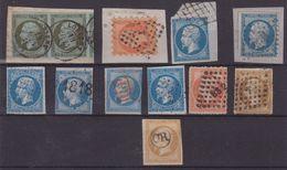 FRANCE : TYPE EMPIRE . N° 11, 13,14,16 . 11 EX . OBL ET VARIETES DIVERSES . AB A TB  . 1854/62 . - Marcophily (detached Stamps)