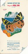 BUVARD - Margarine PEL'OR , Malaunay - Papillon, Callimorphe - 2 Coins Découpés - Alimentaire