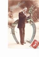 BONNE ANNEE, Fer à Cheval Et Jeune Garçon Aux Fleurs, Ed. ? 1913 - Nouvel An