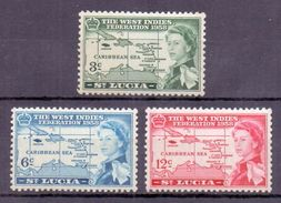 St. Lucia 1958 The West Indies Federation (3v) MNH (M-110) - St.Lucia (1979-...)