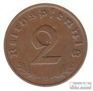 German Empire Jägernr: 362 1938 D Very Fine Bronze Very Fine 1938 2 Reich Pfennig Imperial Eagle - [ 4] 1933-1945 : Third Reich