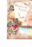 HEUREUSE  ANNEE, Etang, Enveloppe,  Rose, Pensée, Houx, Gui, Ed. Kiss 1921 - Nouvel An
