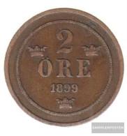 Sweden Km-number. : 746 1899 Very Fine Bronze Very Fine 1899 2 Öre Gekröntes Monogram - Sweden