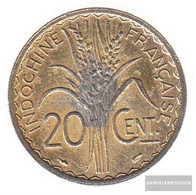 French Indochina 23 1941 Type 2a Very Fine Copper-Nickel Very Fine 1941 20 Cents Reispflanze - Colonies
