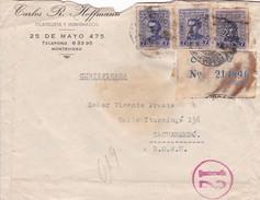 URUGUAY, MONTEVIDEO TO TACUAREMBO, CERTIFICADA RECOMMANDE AVEC AUTRES MARQUES, SCEAU EN CIRE ,CIRCA1950s-BLEUP - Uruguay
