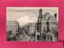 75 Paris 18°, La Mairie Du 18° Arrondissement Et La Rue Ordener, Animée, (J. Cormault) - Paris (18)
