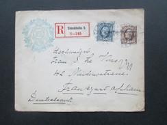 Schweden 1903 Nr. 47/48 MiF Nach Deutschland.  Hotellogo. Grandhotel Stockholm. Mit Siegel! R-Brief Stockholm 5 No 245 - Schweden
