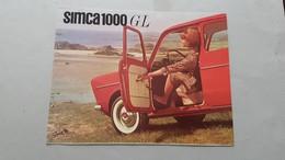 Simca 1000-1000 GL Depliant Originale Italiano Auto - Genuine Car Brochure - Automobili
