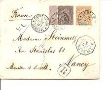 Lettre N°12 Et 30, Chargée, Recommandée, Oblitération Paquebot, Saint-Louis à Nancy 1897,Correspondance Militaire Marine - Lettres & Documents