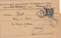 CACHET. IMPRIMES PARIS PP2.  SUR AVIS DE LA DG DE L'ENREGISTREMENT ET DU TIMBRE  PARIS 1917 SEMEUSE 15c /  5986 - Marcophilie (Lettres)