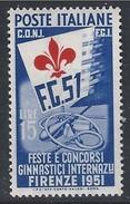 Italia Italy 1951 Feste E Concorsi Ginnici Internazionali L15 Sa N.663 Nuovo MH * - 6. 1946-.. Repubblica