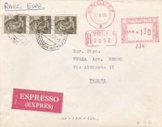 """1966 Busta Raccomandata Espresso, Affrancatura """"mista"""" Rossa + Francobolli, Raro Insieme. - 6. 1946-.. Repubblica"""