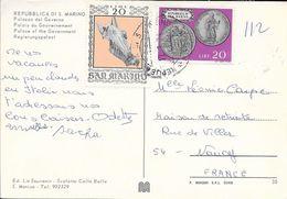 TIMBRES SAINT MARIN SUR CP POUR LA FRANCE  1974 - Lettres & Documents