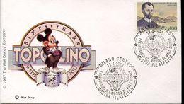 28719 Italia, Special Cover And Postmark 1988 Milano, Topolino, Micky Mouse, Walt Disney - Fumetti
