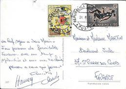 TIMBRES SAINT MARIN SUR CP POUR LA FRANCE  1971 - Lettres & Documents