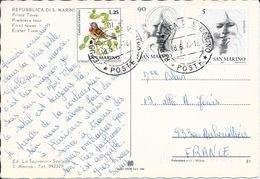 TIMBRES SAINT MARIN SUR CP POUR LA FRANCE  1979 - Lettres & Documents