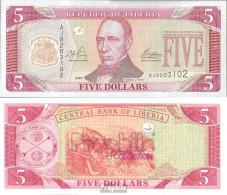 Liberia Pick-Nr: 26a Bankfrisch 2003 5 Dollars - Liberia