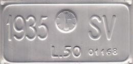 Targa Comprovante Il Pagamento Della Tassa 1935 Del Veicolo A Trazione Animale - Number Plates