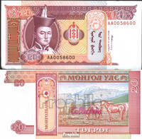 Mongolei Pick-Nr: 55 Bankfrisch 1993 20 Tugrik - Mongolia
