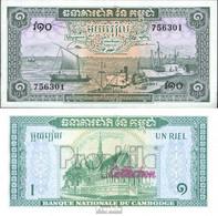 Kambodscha Pick-Nr: 4c Bankfrisch 1956 1 Riel - Cambodia