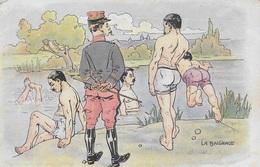 Carte Postale. Militaria. 14/18. La Baignade. Hommes Nus - Militaria