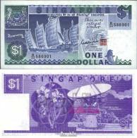 Singapur Pick-Nr: 18a Bankfrisch 1987 1 Dollar Schiff - Singapore