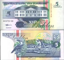 Surinam Pick-Nr: 136b (1998) Bankfrisch 1998 5 Gulden - Surinam