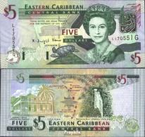 Vereinte Karibische Staaten Pick-Nr: 42g, Suffix Letter G Bankfrisch 2003 5 Dollars - Ostkaribik